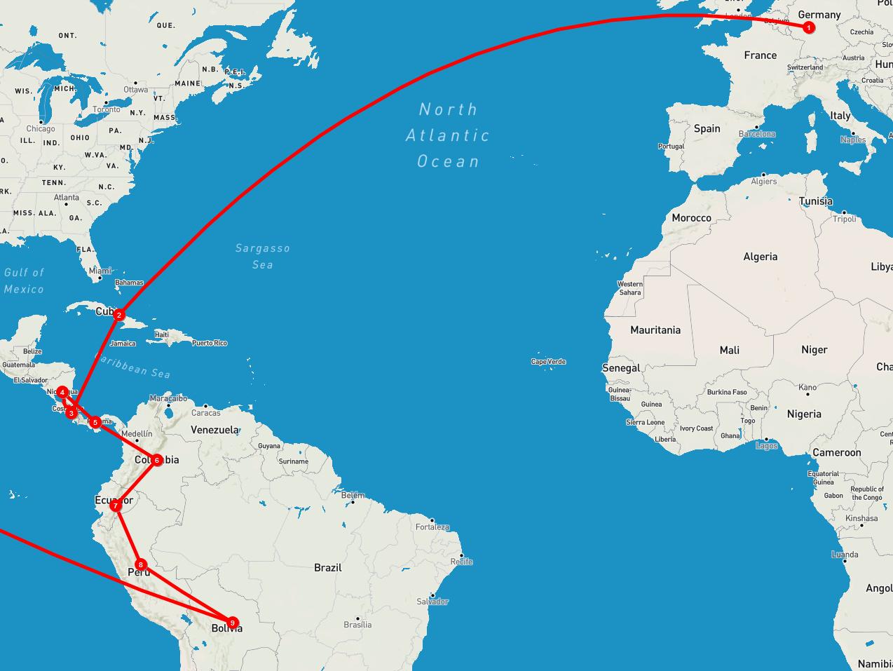 Unsere Route durch Südamerika