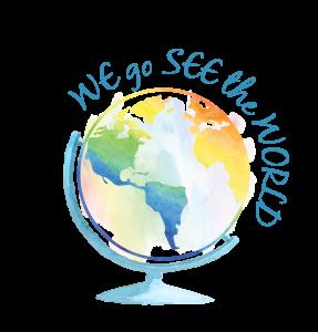Logo Weltkugel WE go SEE the WORLD