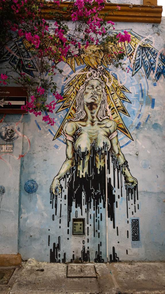 Künstlerisches Graffiti in Cartagena im Norden Kolumbiens
