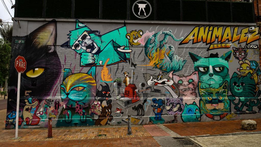 Zeichentrick Graffiti in Bogota